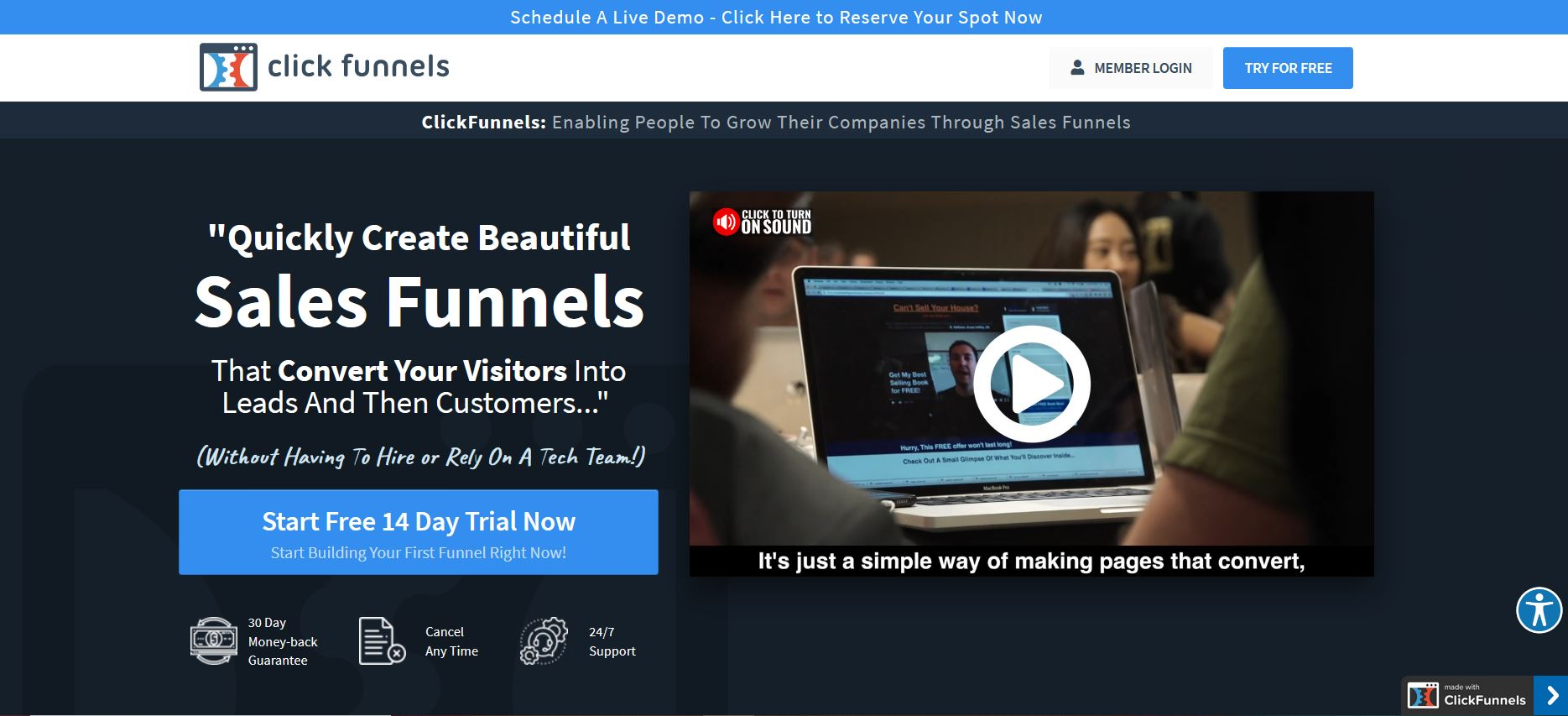 Clickfunnels page accueil